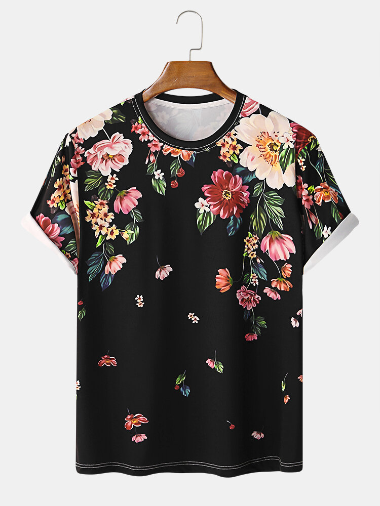 Mens Holiday Style Floral Printed Loose O-neck T-shirt