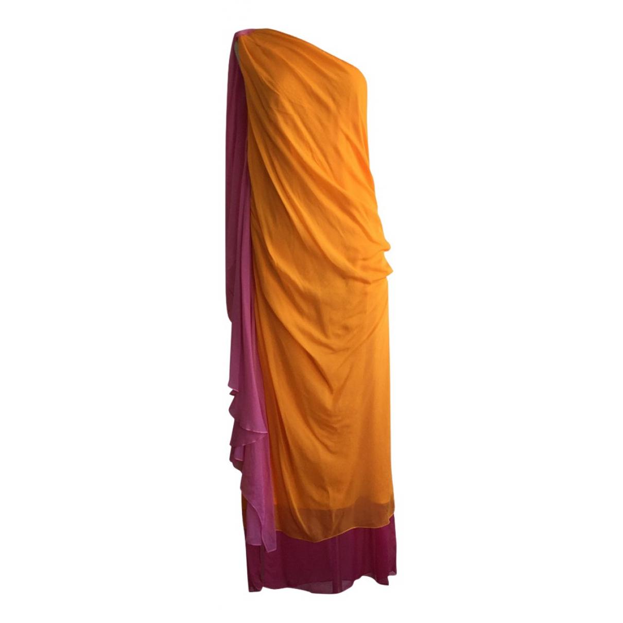 Diane Von Furstenberg \N Orange Silk dress for Women 14-16 US