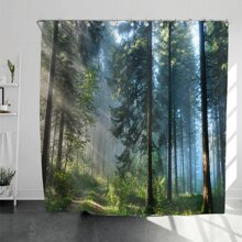 Forest Pattern Shower Curtain With 12hooks