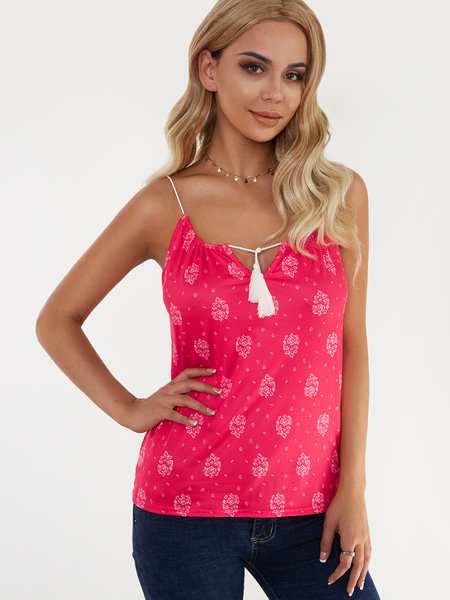 Yoins Red Floral Print Lace-up Design Drawstring Round Neck Camis