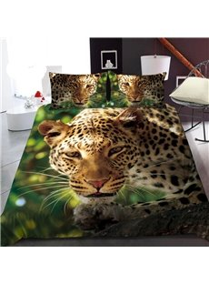 A Leopard In The Jungle 3D Printed Polyester 1-Piece Warm Quilt