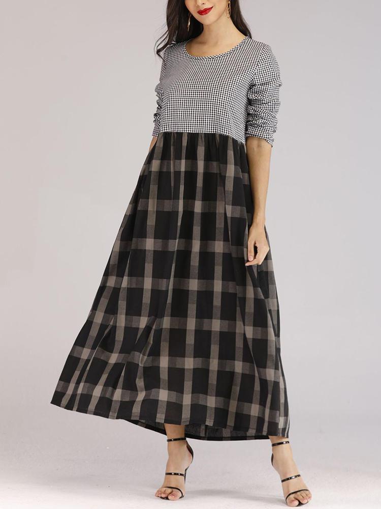 Women Casual Long Sleeve Plaid Patchwork Long Dress