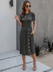 Solid Button Front A-line Dress