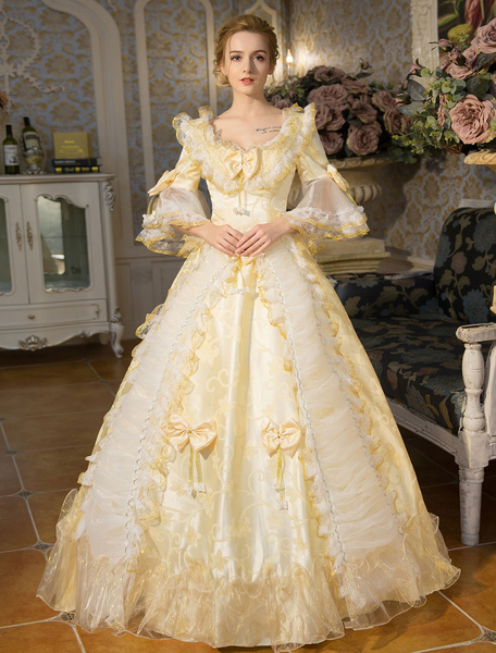 Milanoo Victorian Dress Costume White Rococo Lace Long Flared Sleeves Tunic Ball Gown Retro Costumes With Bows Halloween