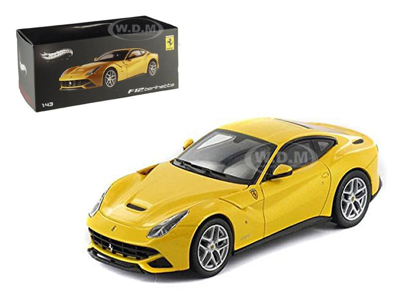 Ferrari F12 Berlinetta Yellow Elite Edition 1/43 Diecast Car Model by Hotwheels