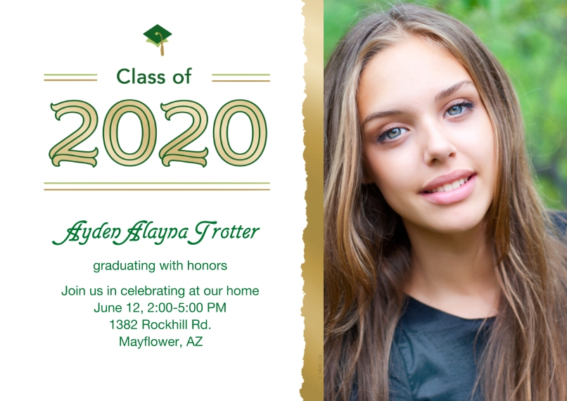 Party Invitations 5x7 Cards, Premium Cardstock 120lb with Rounded Corners, Card & Stationery -Class of 2020 Frayed Photo Invitation by Hallmark