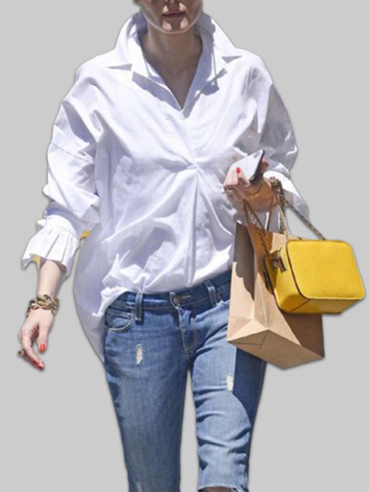 Bishop Sleeve Lapel Long Sleeve Plus Size Shirt