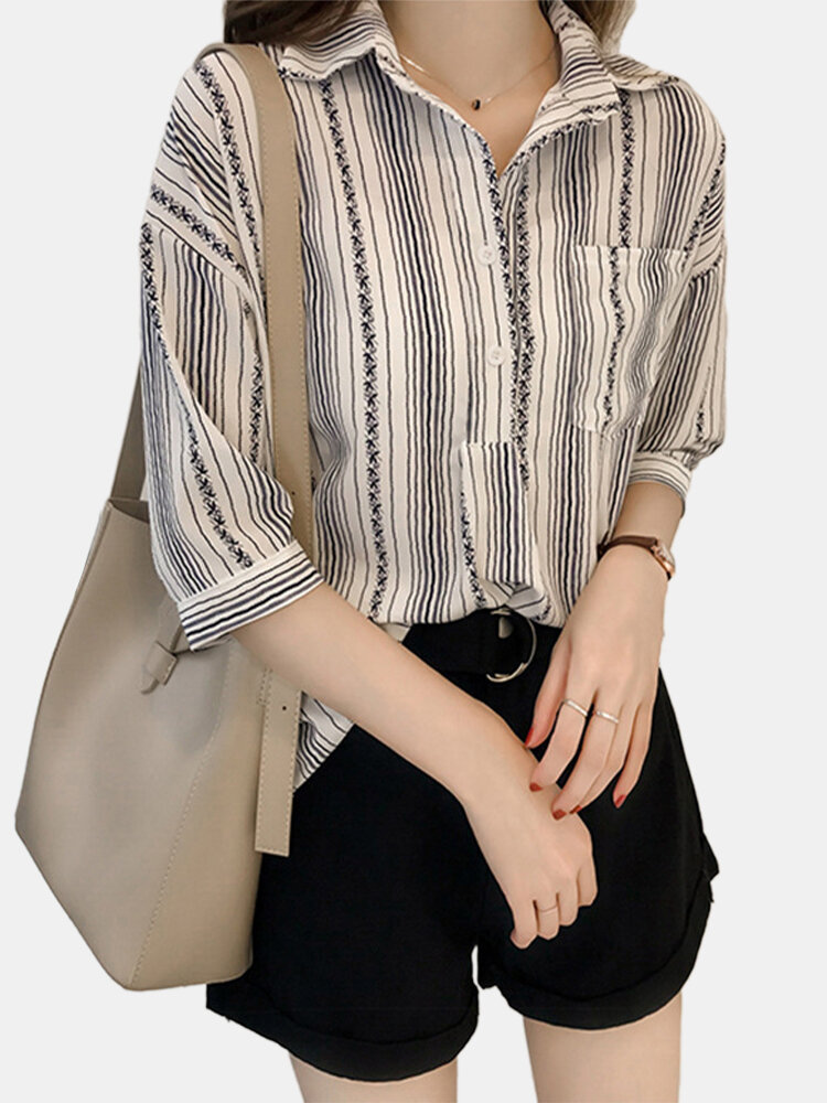 Stripe Print Half Sleeve Button Casual Shirt For Women