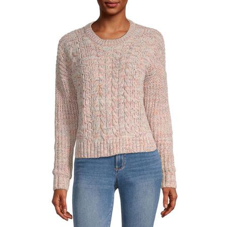 Rewind-Juniors Womens Crew Neck Long Sleeve Pullover Sweater, Medium , Red