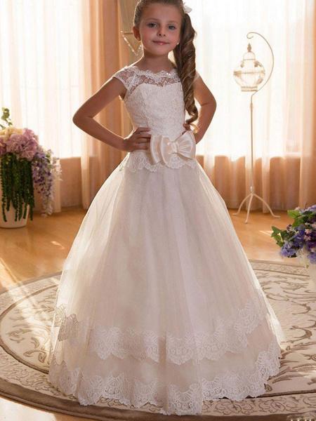 Milanoo Flower Girl Dresses Jewel Neck Tulle Short Sleeves Floor Length Princess Silhouette Bows Kids Formal Pageant Dresses