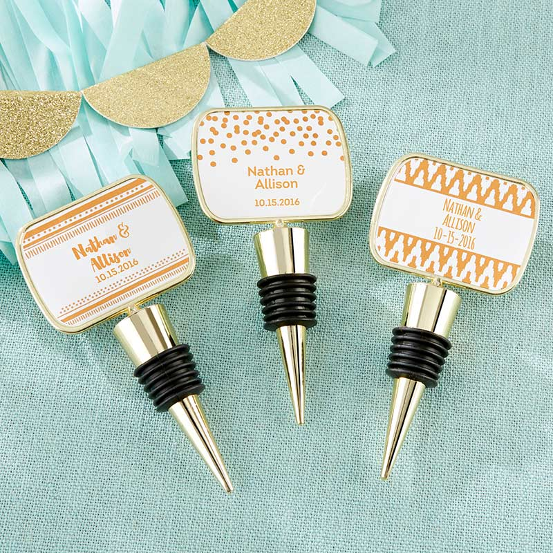 Personalized Copper Foil Gold Bottle Stopper
