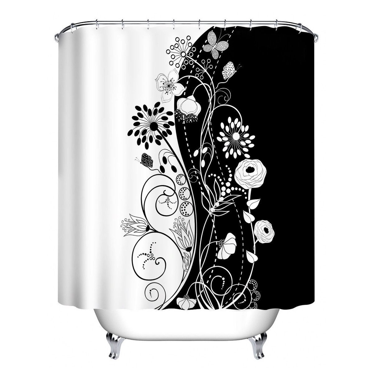 150*180/180*180 cm Black & White Flowers Shower Curtain Set Bathroom Waterproof Fabric With 12 Hooks