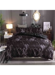 Black Marbling Pattern Soft And Cozy 3-Piece Polyester Bedding Sets/Duvet Covers