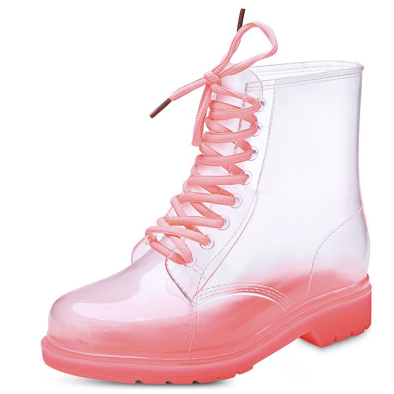 Ericdress Lace-Up Front Block Heel Round Toe Candy Color Boots