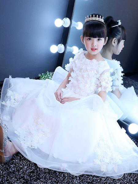 Milanoo White Flower Girl Dresses Lace Princess Pageant Dress Kids 3D Flowers Applique Ruffles Tiered Long Party Dress