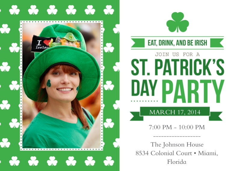 St. Patrick's Day Cards 5x7 Cards, Premium Cardstock 120lb, Card & Stationery -St. Patrick's Day Party Invitation