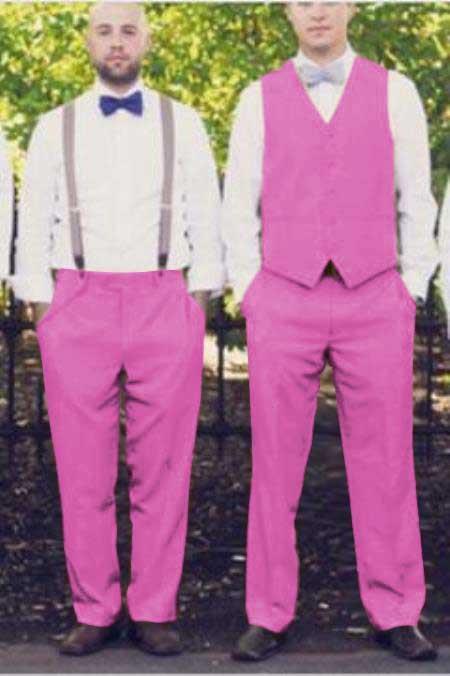 Matching Waistcoat Wedding ~ Prom Vests & Flat Front Pants Set Pink