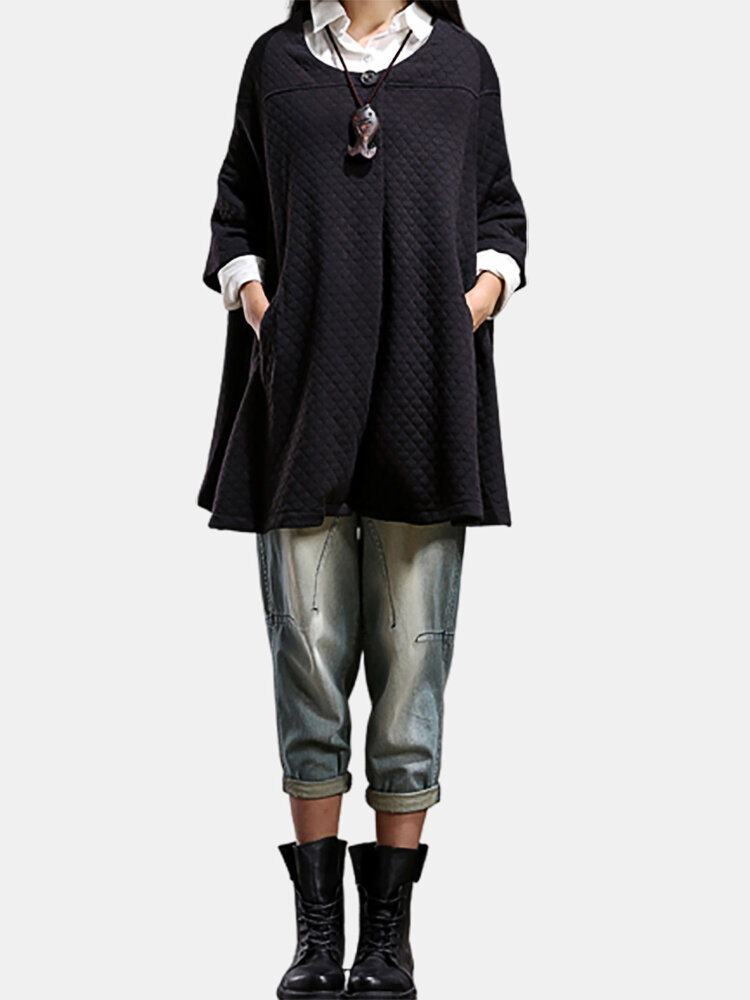 Solid Color Plaid Loose Button Casual Cape Coat