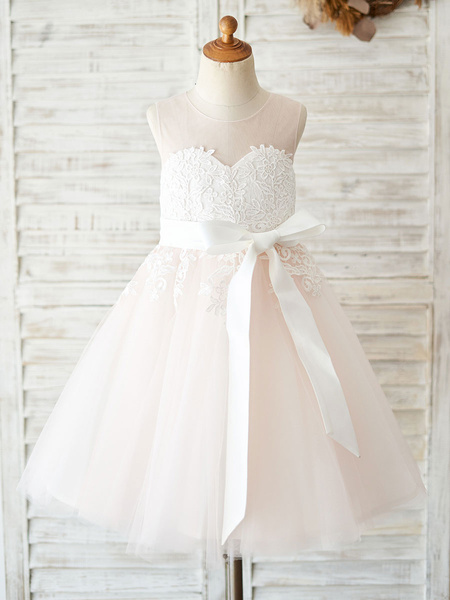 Milanoo Flower Girl Dresses Sleeveless Sash Formal Tulle Lace Kids Pageant Dresses