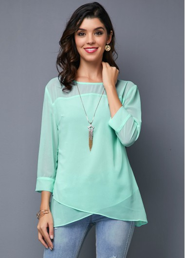 Women'S Light Blue Tunic T Shirt Solid Color Three Quarter Sleeve Crossver Hem Casual Top By Rosewe - 16