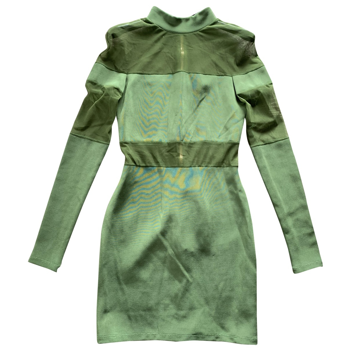 Balmain \N Green Cotton - elasthane dress for Women 36 FR