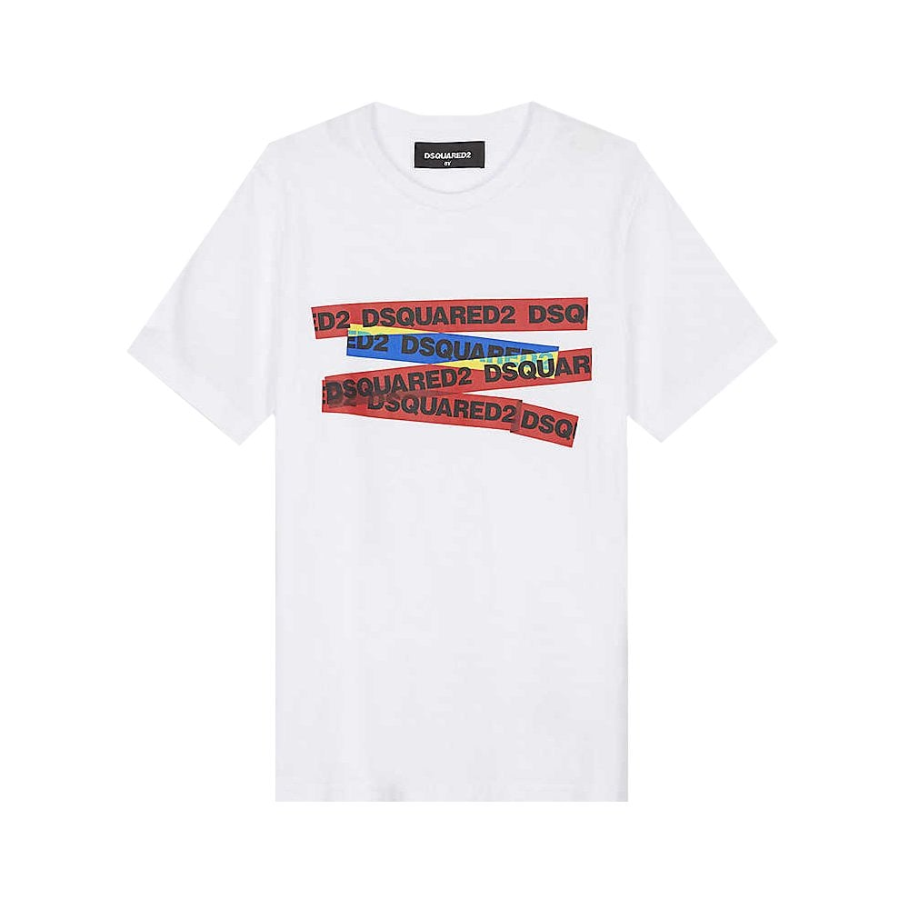 Dsquared2 Tape Logo T-shirt Colour: WHITE, Size: 10 YEARS