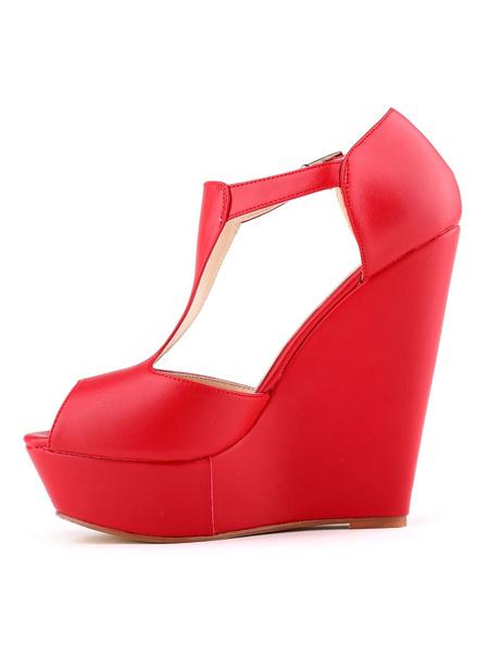 Milanoo Black Wedge Sandals Peep Toe Platform PU Leather Buckled Platform Heels Sandal Shoes For Women