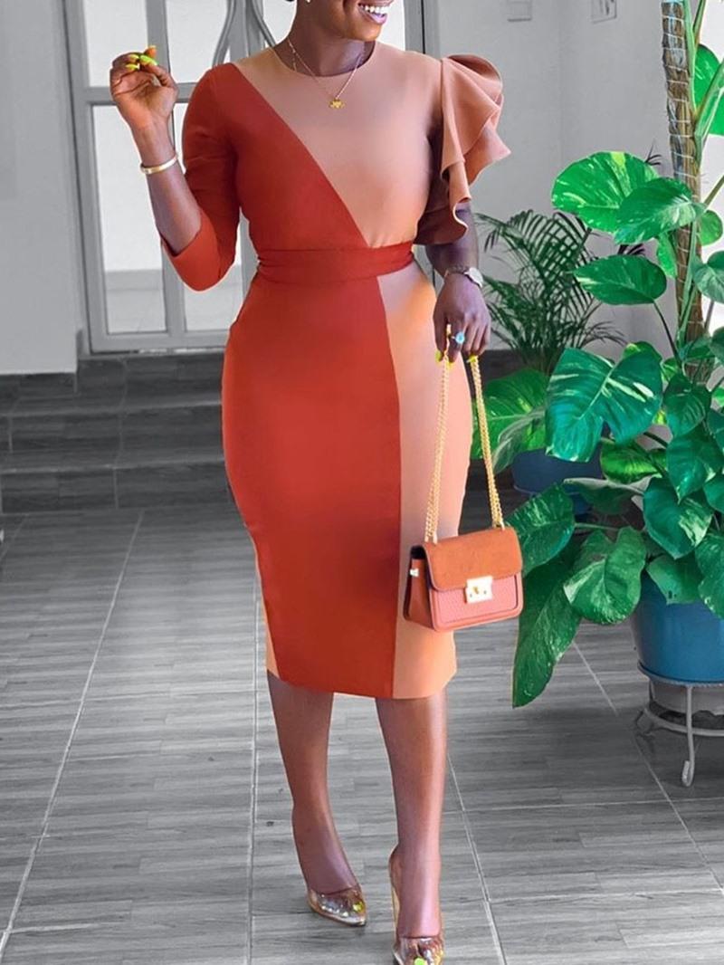 Ericdress Round Neck Falbala Three-Quarter Sleeve Regular Bodycon Dress