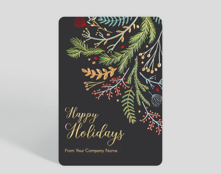 Whimsical Boughs Christmas Card - Greeting Cards