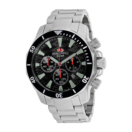 Sea-Pro Mens Silver Tone Stainless Steel Bracelet Watch-Sp8340, One Size , No Color Family