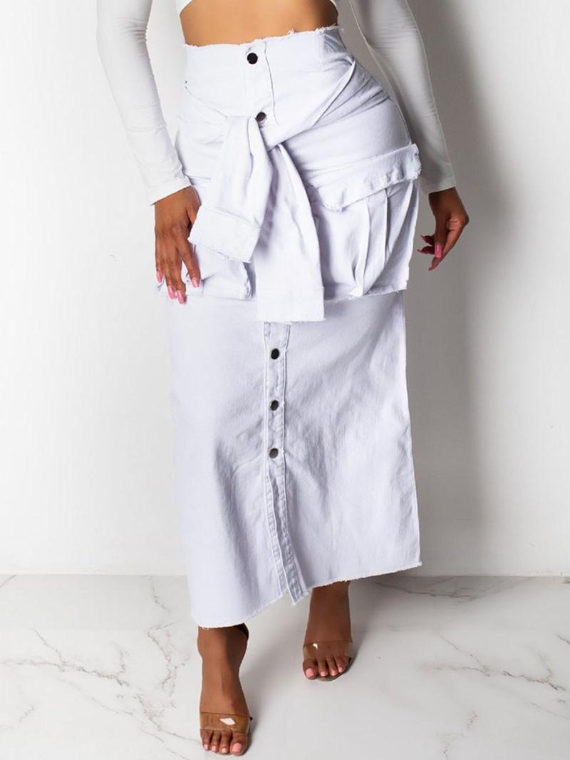 Ericdress Plain A-Line Denim Button Skirt