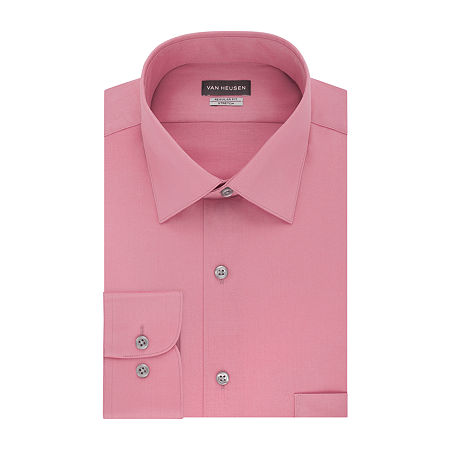 Van Heusen Lux Sateen Stretch Mens Spread Collar Long Sleeve Wrinkle Free Stretch Dress Shirt, 15.5 32-33, Pink