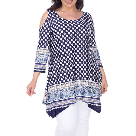 White Mark-Plus Antonia Womens Scoop Neck 3/4 Sleeve Tunic Top, 3x , Blue