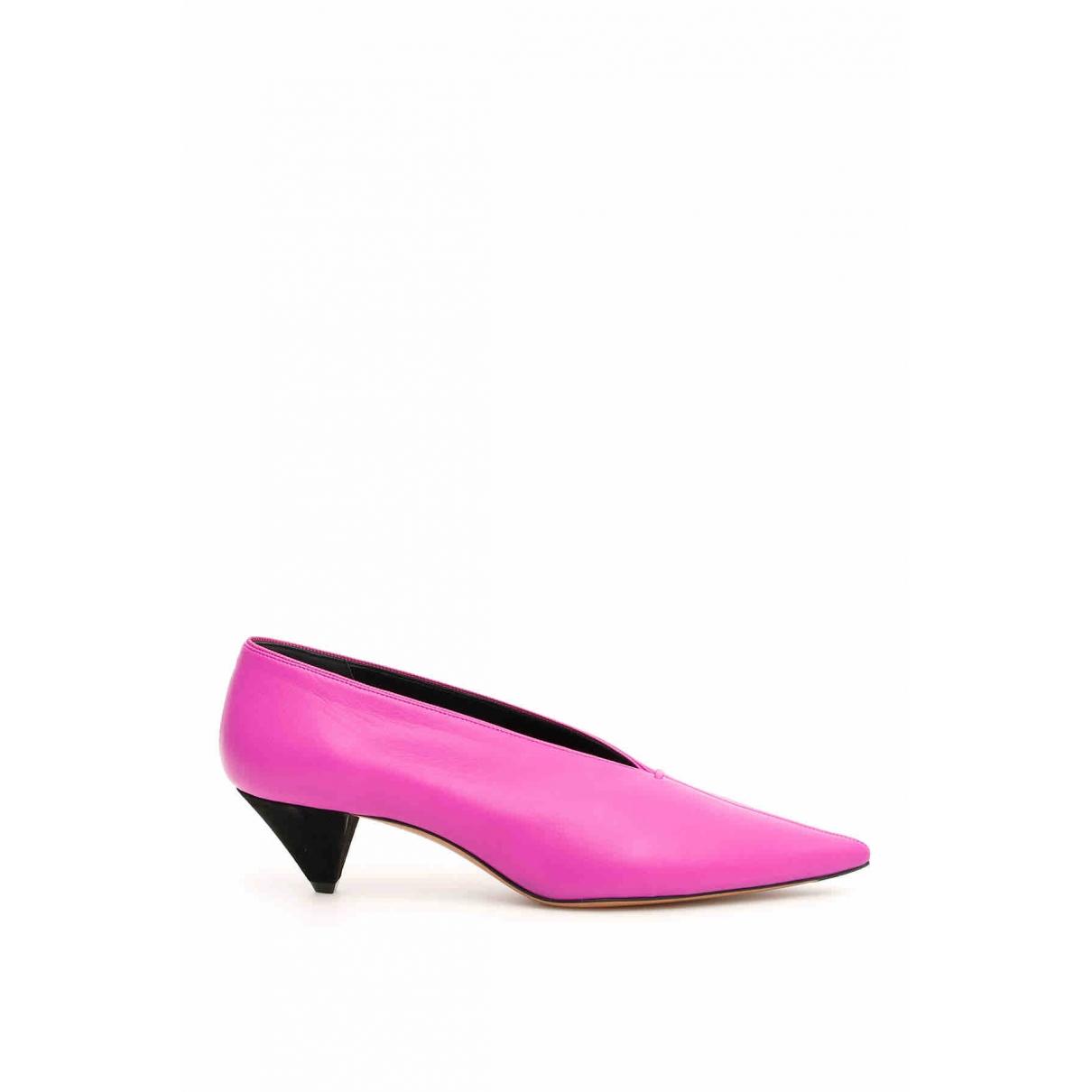 Celine Soft V Neck Purple Leather Heels for Women 38 EU