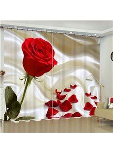 Bright Red Roses Printed Custom Polyester Blackout Curtain for Living Room