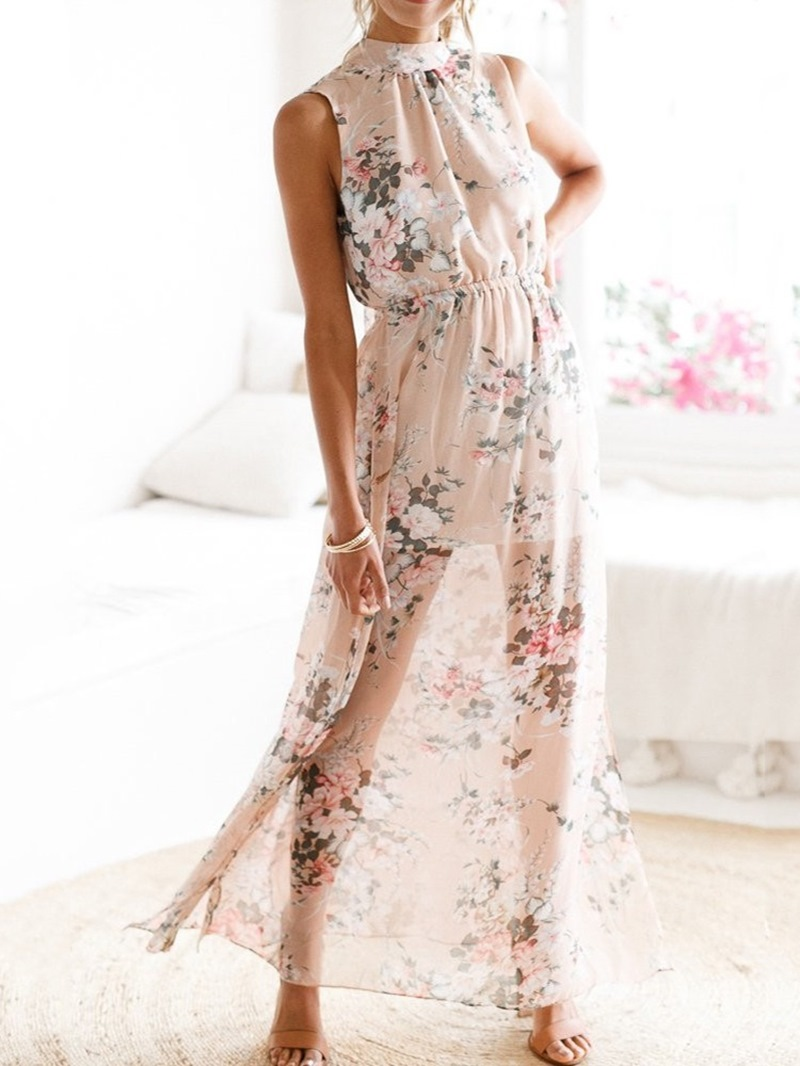 Ericdress Sleeveless Stand Collar Ankle-Length Mid Waist Pullover Dress