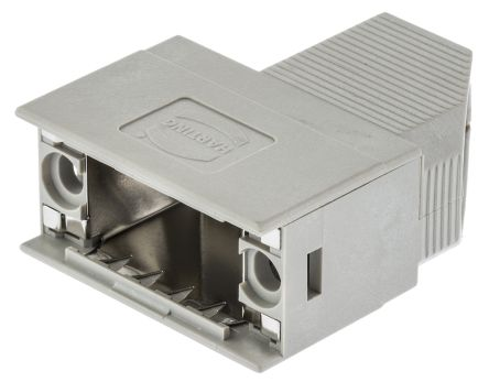 HARTING , D-sub Polymer Right Angle D-sub Connector Backshell, 9 Way, Strain Relief, Grey