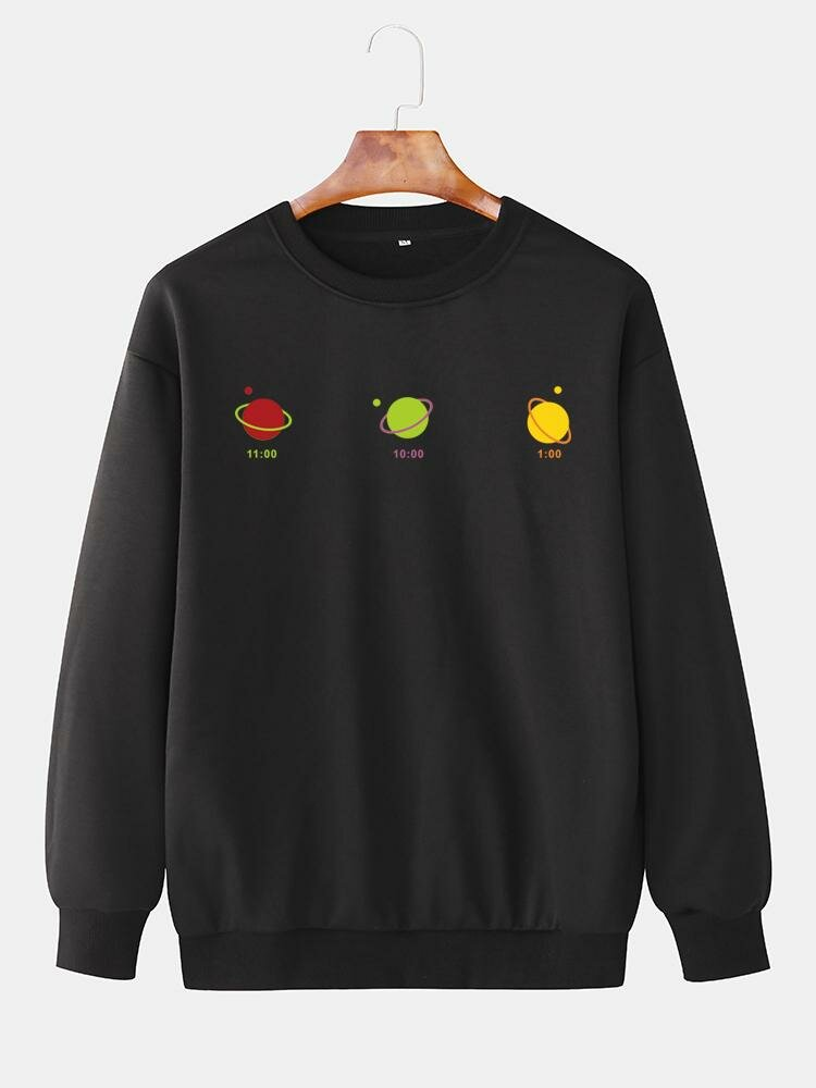 Mens Plain Cartoon Planet Pattern Chest Print Relaxed Fit Loose Crew Neck Sweatshirts