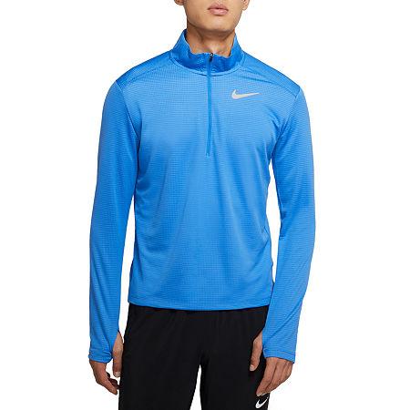 Nike Mens Mock Neck Long Sleeve Quarter-Zip Pullover, Large , Blue