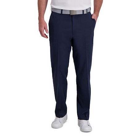 Haggar Cool Right Performance Flex Classic Fit Flat Front Men's Pant, 42 30, Blue