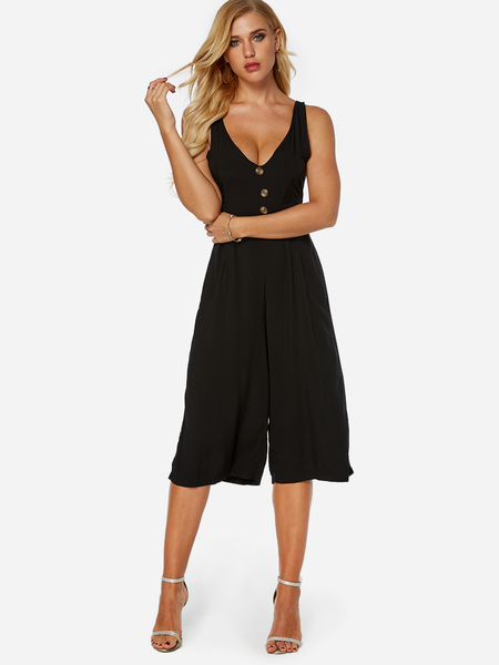 Yoins Black Backless Design V-neck Sleeveless Jumpsuit