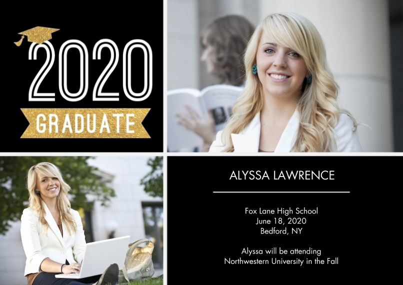 2020 Graduation Invitations 5x7 Cards, Premium Cardstock 120lb with Rounded Corners, Card & Stationery -Graduation 2020 Cap by Tumbalina