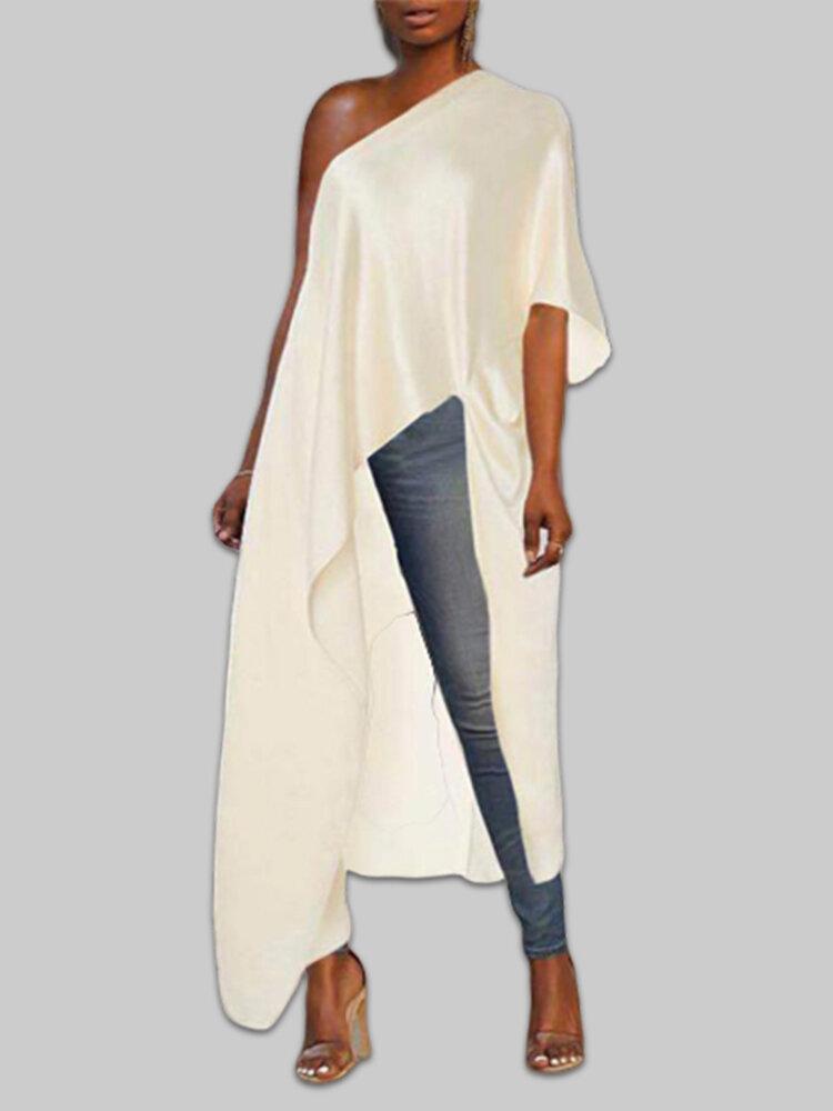 Satin One-shoulder Asymmetrical Trim Plus Size Maxi Blouse
