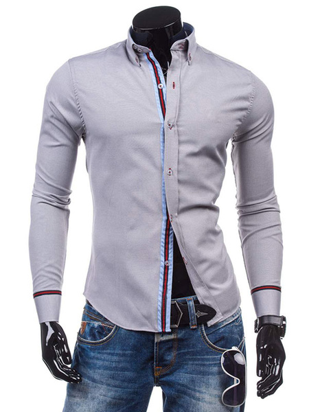 Milanoo Long Sleeve Shirt Stripe Turndown Collar Slim Fit Men Casual Shirt