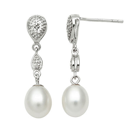 Freshwater Pearl & Diamond-Accent Earrings, One Size , White