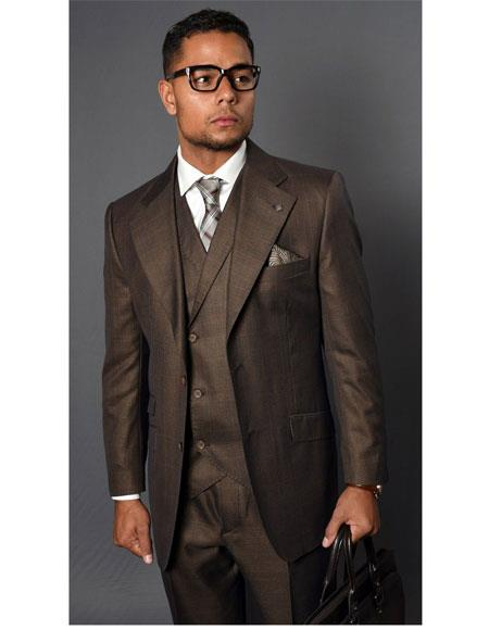 Mens Vernaza Coffee Two Button Single Breasted Suit