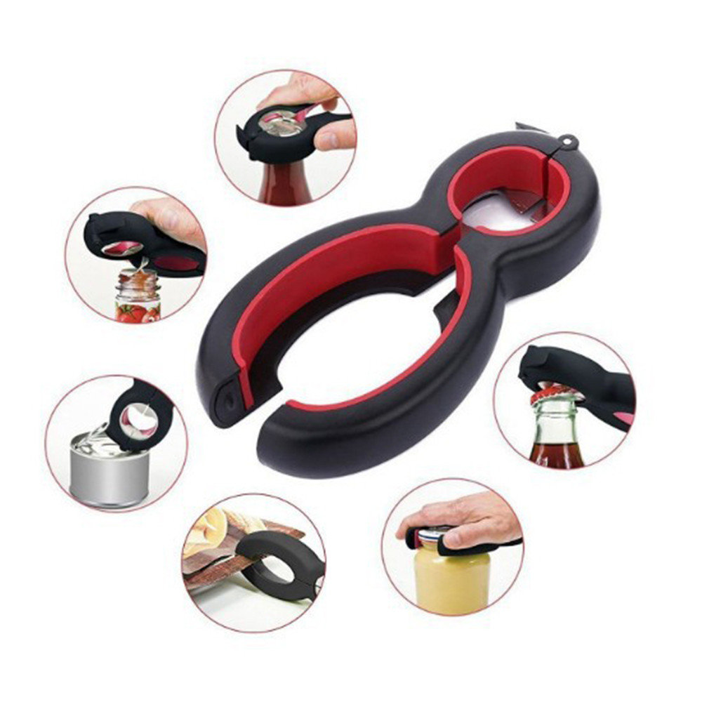 Drillpro 6 in 1 Multi Function Can Bottle Opener Jar Gripper Kitchen Tools