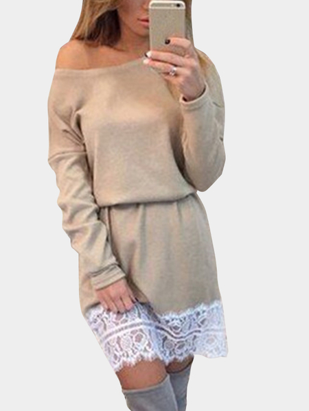 Yoins Khaki Elastic Strap One Shoulder Mini Dress With Stitching Hem