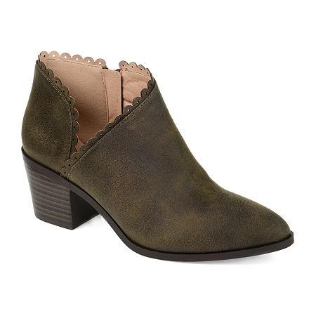Journee Collection Womens Tessa Stacked Heel Booties, 10 Medium, Green