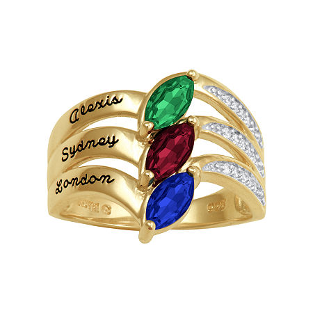 Artcarved Personalized 17.5MM Multi Color Stone 10K Gold Band, 6 , No Color Family